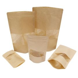 Brown Pouches with transparent Window